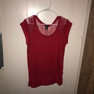 Red shirt with lace.